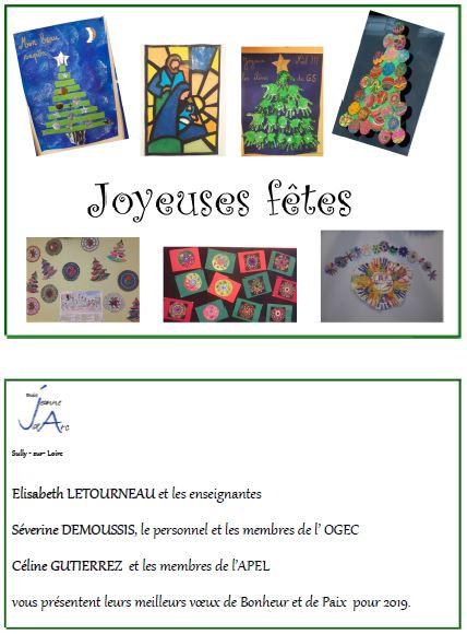 Carte de voeux école Jeanne d'arc Sully